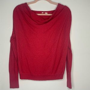 MOTH | Anthropologie Red Knit Cowl Neck Sweater